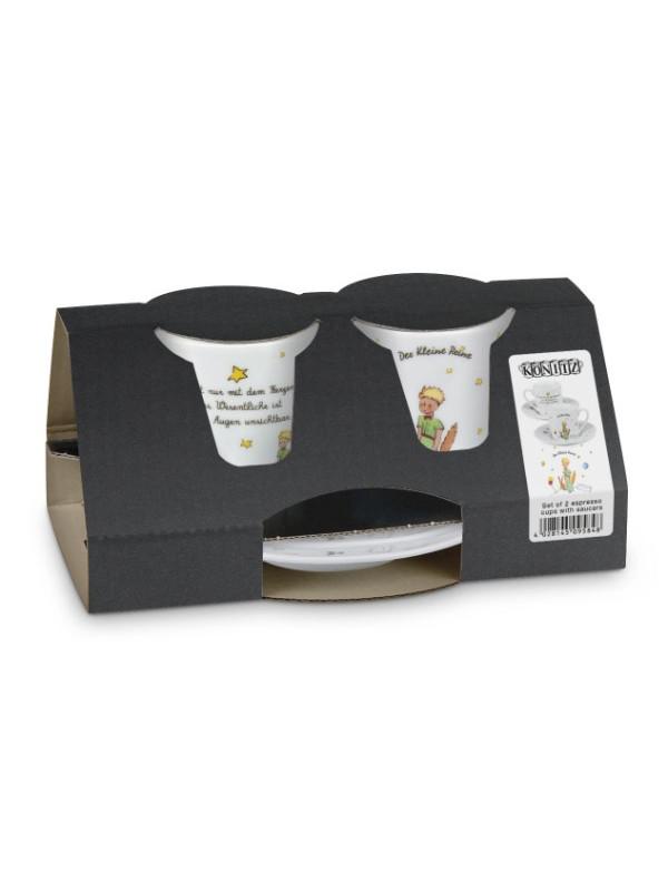 KÖNITZ Espressotassen-Set 2 x Tasse + Untertasse – Der kleine Prinz - Geheimnis