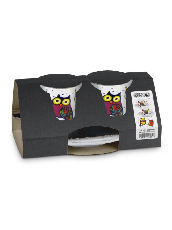 KÖNITZ Espressotassen-Set 2 x Tasse + Untertasse – Colourful Animals - Owl