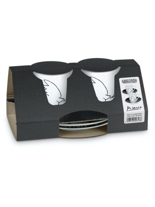 KÖNITZ Espressotassen-Set 2 x Tasse + Untertasse – Picasso - La colombe de la paix