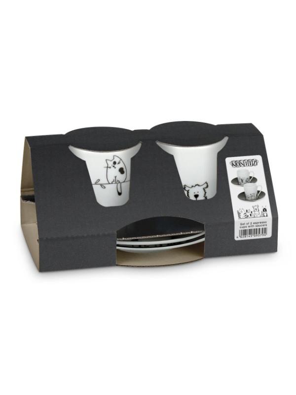 KÖNITZ Espressotassen-Set 2 x Tasse + Untertasse – Funny Cats & Dogs