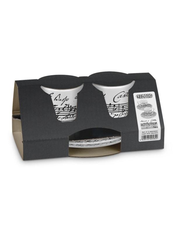 KÖNITZ Espressotassen-Set 2 x Tasse + Untertasse – Coffee Cantata