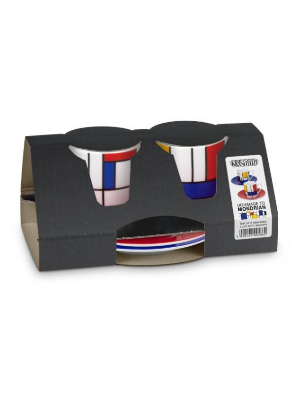 KÖNITZ Espressotassen-Set 2 x Tasse + Untertasse – Hommage to Mondrian Fragments