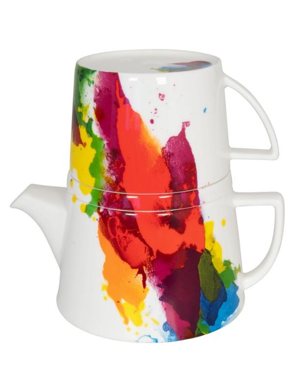 KÖNITZ Kanne mit Deckel und Becher Tea for me - On colour Flow