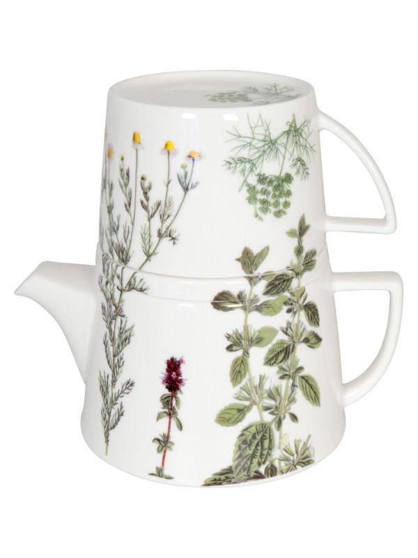 KÖNITZ Kanne mit Deckel und Becher Tea for me - Kräuter