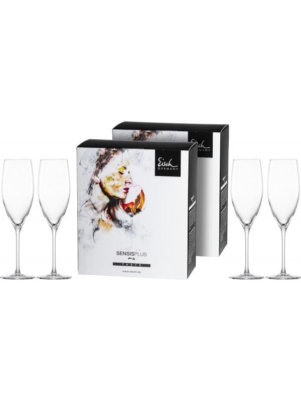 EISCH Champagnerglas mit Moussierpunkt Superior SENSISPLUS - 4 Stück im Geschenkkarton