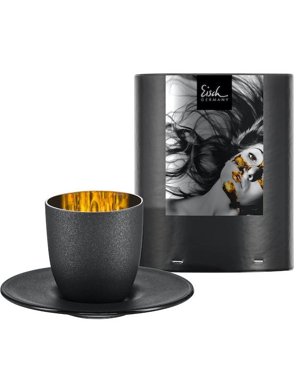 EISCH Espressoglas mit Untersetzer Cosmo gold in Geschenkröhre
