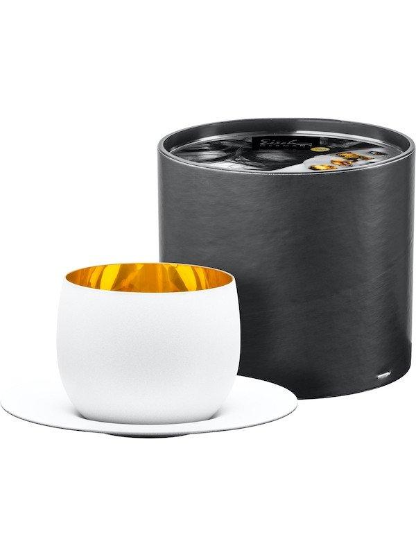 EISCH Cappuccinoglas mit Untersetzer Cosmo pure white – in Geschenkröhre