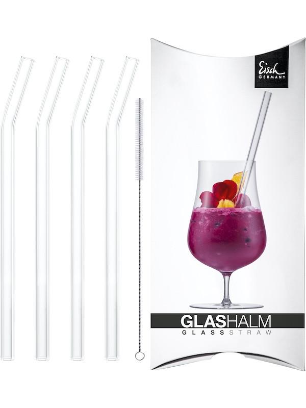 EISCH Glastrinkhalm-Set 225 mm geknickt kristall 4x + Bürste im Geschenkkarton Gentleman