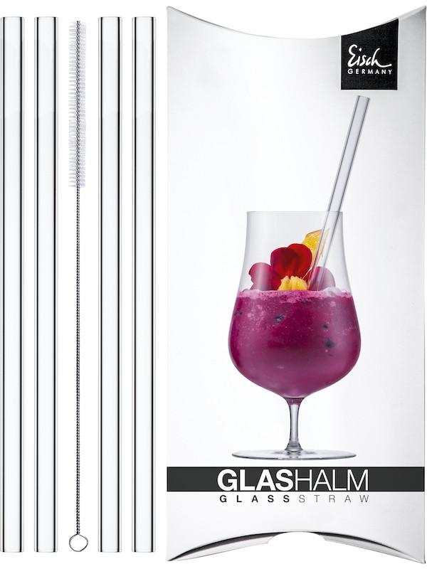 EISCH Glashalm-Set 4 Glashalme + 1 Reinigungsbürste Gentleman im Geschenkkarton