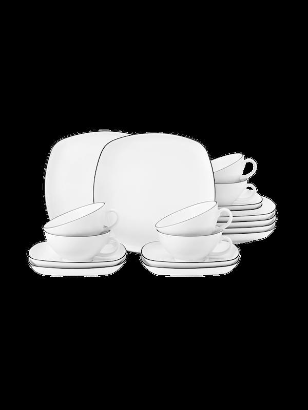 SELTMANN WEIDEN Teeservice 18-teilig eckig klein Lido Black Line