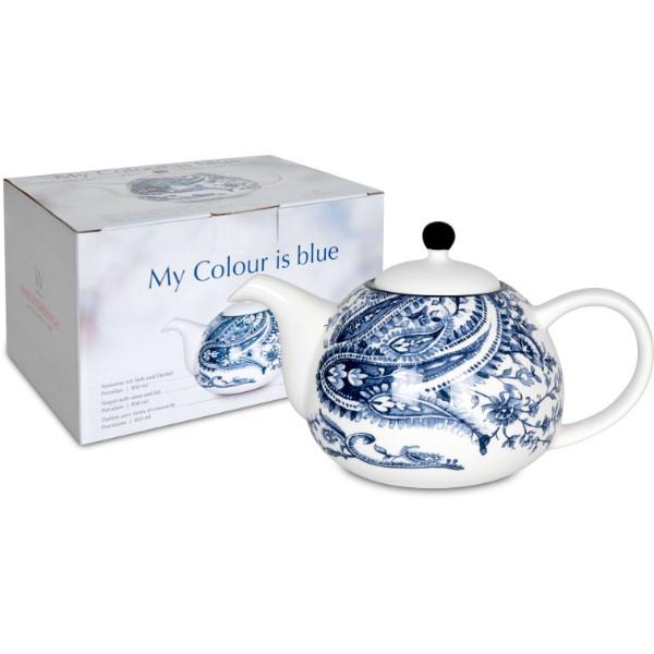 WAECHTERSBACH Teekanne mit Deckel und Sieb My colour is blue! im Geschenkkarton