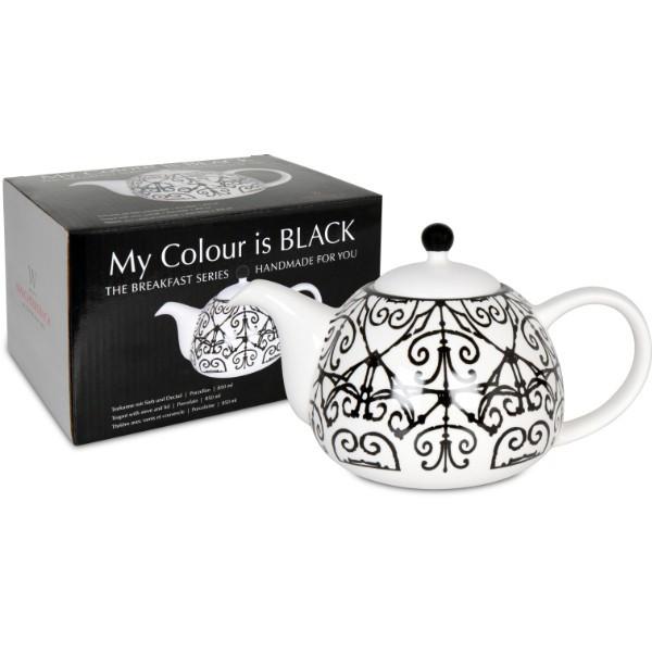 WAECHTERSBACH Teekanne mit Deckel und Sieb - My colour is black! im Geschenkkarton